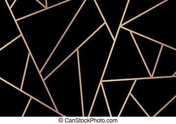 Triangle geometric pattern vector gold black background