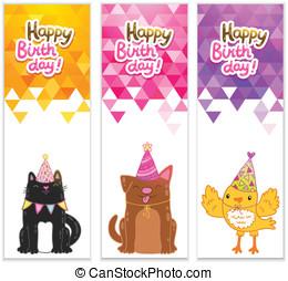 Happy Birthday banners with cat, dog, bird