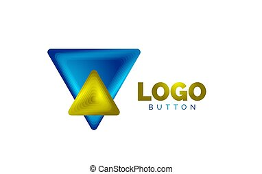 Triangle icon geometric logo template. Minimal geometrical design, 3d geometric bold symbol in relief style with color blend steps effect. Vector Illustration For Button, Banner, Background