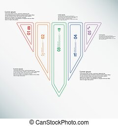 Triangle Illustration infographic template divided to five color parts created by double outlines