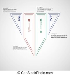 Triangle Illustration infographic template divided to four color parts created by double outlines