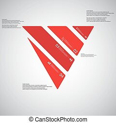 Triangle illustration template consists of four red parts on light background
