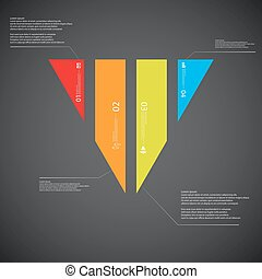 Triangle illustration template consists of four color parts on dark background