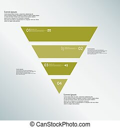 Triangle illustration template consists of four green parts on blue background