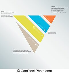 Triangle illustration template consists of four color parts on light-blue background