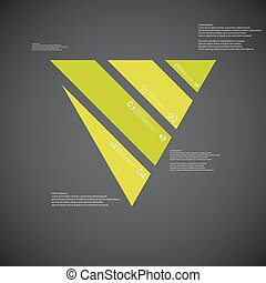 Triangle illustration template consists of four green parts on dark background