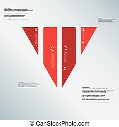 Triangle illustration template consists of four red parts on light-blue background
