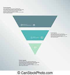 Triangle illustration template consists of three color parts on blue background