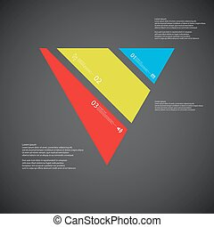 Triangle illustration template consists of three color parts on dark background