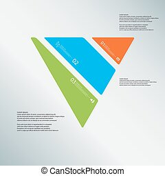 Triangle illustration template consists of three color parts on light-blue background