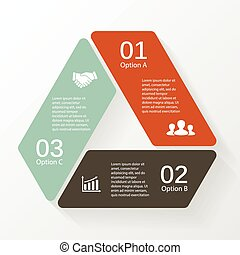 Triangle infographic, diagram, 3 options, steps.