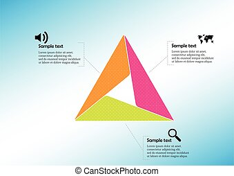Triangle infographic template consists of three sections
