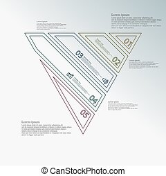 Triangle infographic template created by five color double contour elements