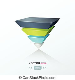 triangle infographic template green blue gray color