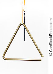 A musical triangle isolated against a white background in the vertical format with copy space.