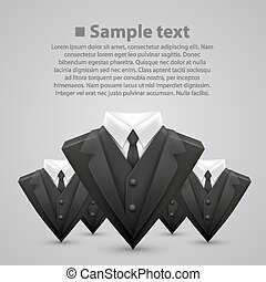Triangle jacket and tie team. Vector illustration