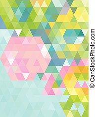 triangle, jasny, zielony abstrakt, tło