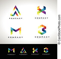 Triangle Letter Logo Design. Vector logo with triangle lette...