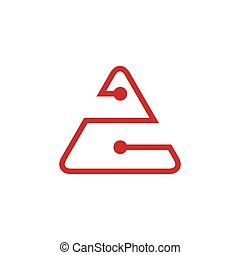 triangle linked dots line logo vector