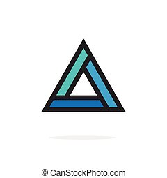 Triangle logo element with strict corners vector geometric figure outlined