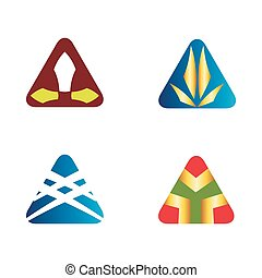 Triangle logo icons set