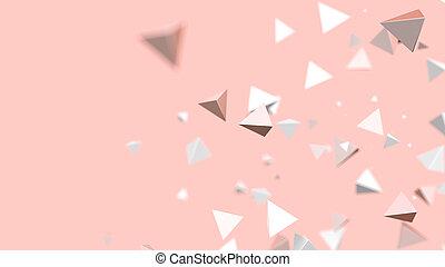 triangle, lumière, résumé, particules, fond, corail