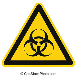 triangle, macro, symbole, biohazard, isolé, signe jaune, ...