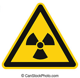 triangle, macro, symbole, radiation, isolé, signe danger, ...
