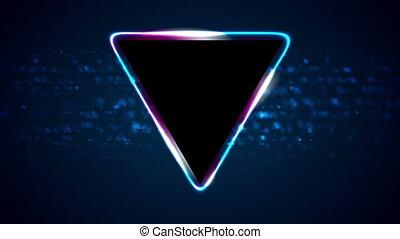 triangle, néon, mouvement, retro, fond, 80s, brillant