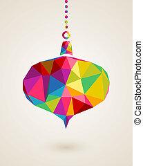 triangle, noël, couleurs, joyeux, pendre, babiole