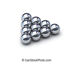 Triangle of metal spheres with clipping path