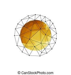 triangle, or, couleur, résumé, sphère, vecteur, géométrique