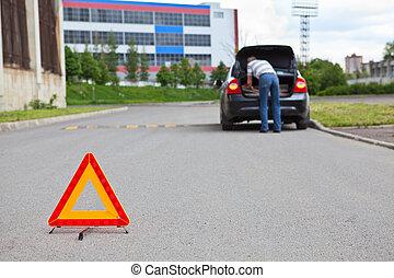 triangle, panneau avertissement, sur, route, premier plan,...