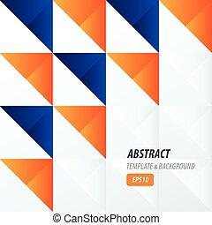 triangle pattern design 2 color  blue, orange