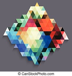 Triangle pattern in diamond shape abstract color