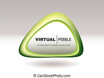 Triangle pebble green - Green abstract pebble icon with...