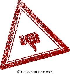 triangle, pouce, timbre, cachet, bas, textured, détresse