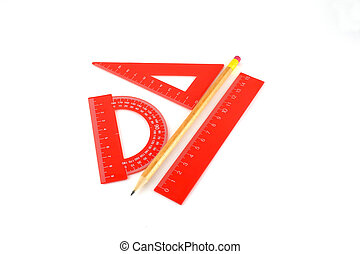 Triangle, protractor, ruler and pencil