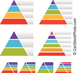 Triangle, pyramid charts with banners Triangle, pyramid...