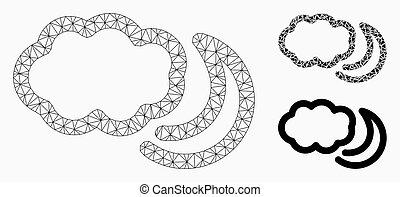 triangle, réseau, maille, vecteur, nuit, nuages, modèle, mosaïque, icône