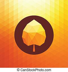 triangle, résumé, automne, vecteur, fond, feuille