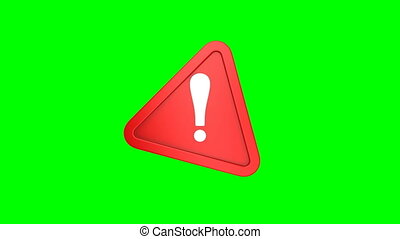 triangle, rouge vert, isolé, exclamation, 3d, arrière-plan., point, render