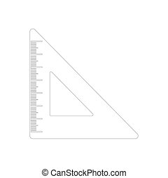 Triangle ruler icon in outline style isolated on white background.