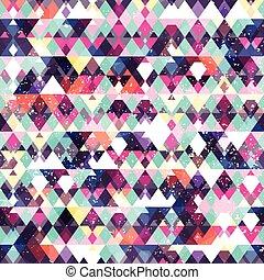 Triangle seamless pattern. Grunge effect