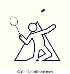 Triangle Shape Badminton Sport Figure Outline Symbol Vector Illustration