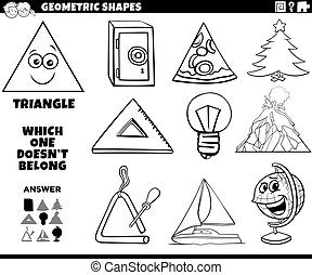 Black and White Cartoon Illustration of Triangle Geometric Shape Educational Task for Children Coloring Book Page