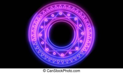 triangle shape power magenta and blue energy around and abstract star powerful ray magic circle rotate in the end