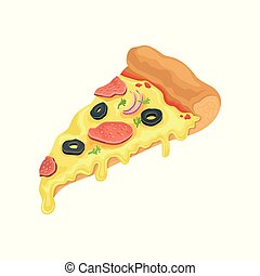 Triangle slice of classic pizza with salami. Fast food theme. Cartoon style icon. Flat vector element for cafe or pizzeria menu