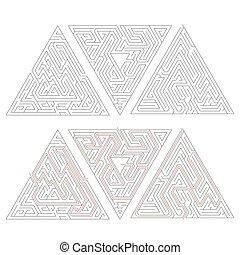 triangle, solution, isolé, compliqué, white., sentier, labyrinthes, trois, rouges