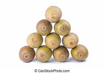 triangle stack of kiwi fruit